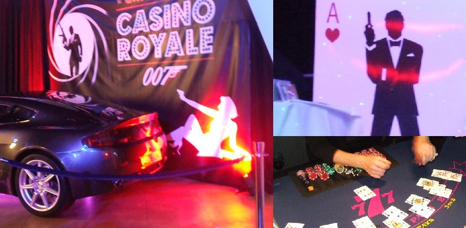 Aces Fun 007 James Bond Casino Royale Party Night Roulette Blackjack Hire Somerset